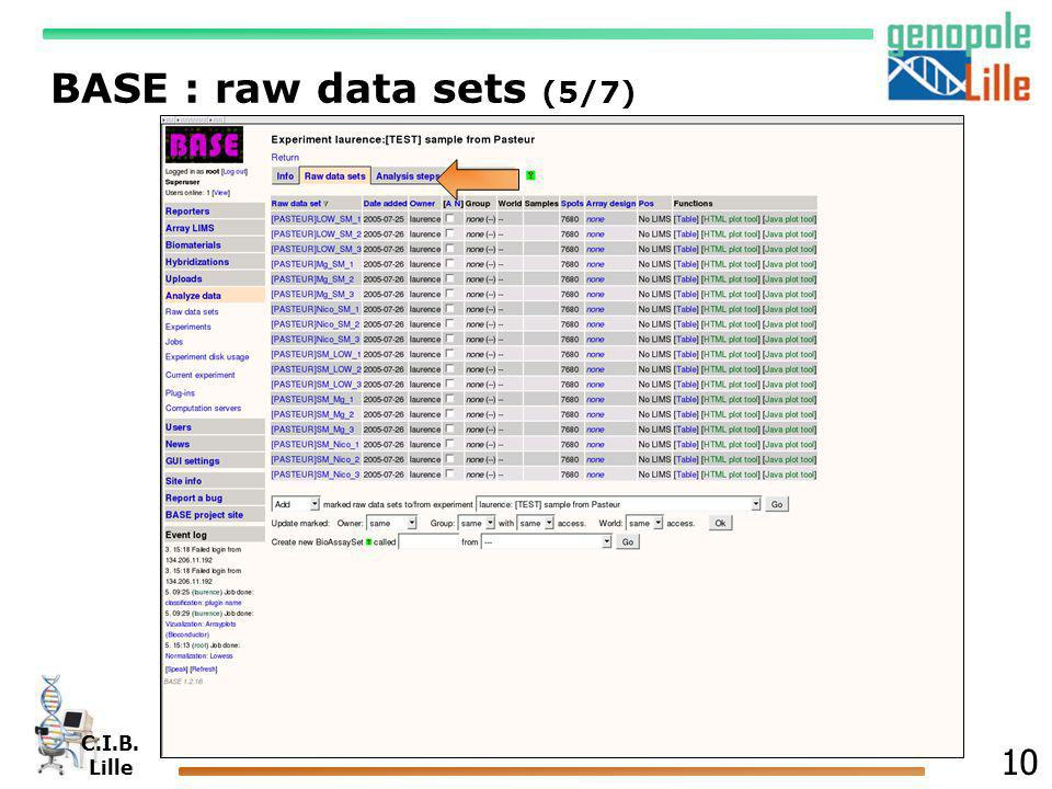 C.I.B. Lille 10 BASE : raw data sets (5/7)