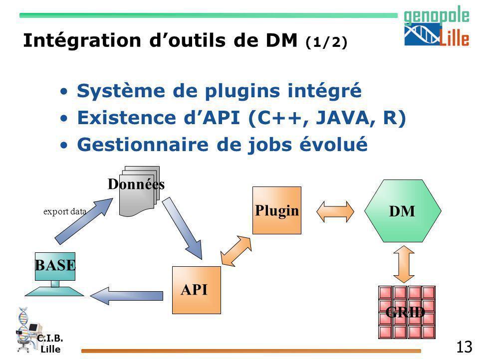 C.I.B. Lille 13 Intégration doutils de DM (1/2) Système de plugins intégré Existence dAPI (C++, JAVA, R) Gestionnaire de jobs évolué DM GRID BASE Donn