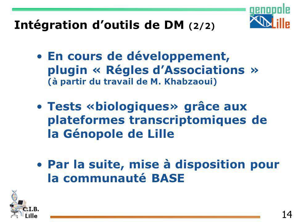 C.I.B. Lille 14 Intégration doutils de DM (2/2) En cours de développement, plugin « Régles dAssociations » (à partir du travail de M. Khabzaoui) Tests