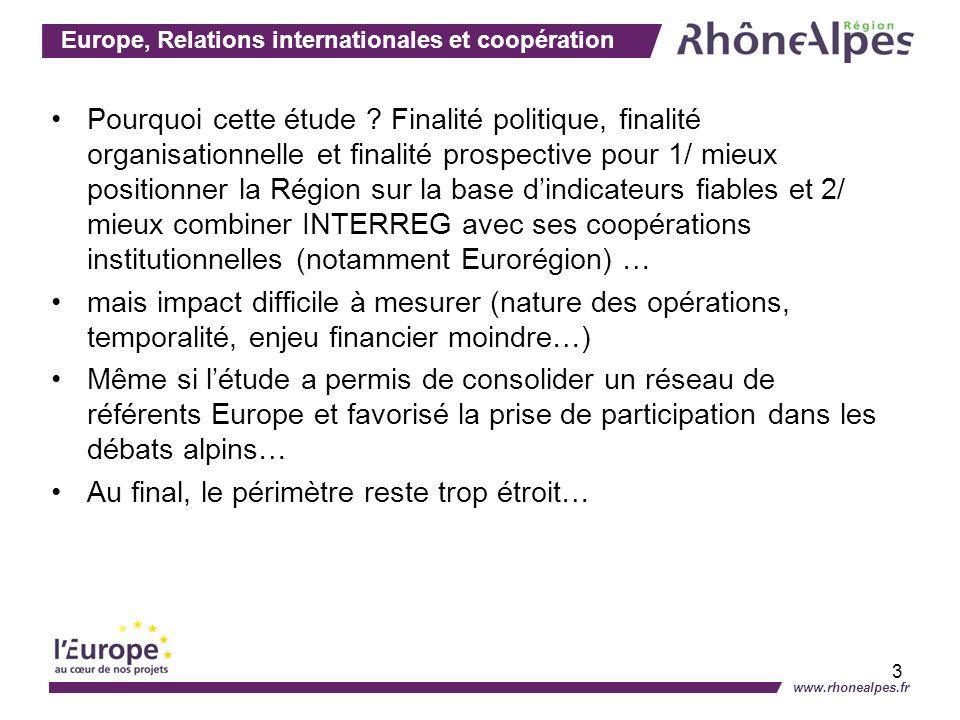 Europe, Relations internationales et coopération www.rhonealpes.fr 3 Pourquoi cette étude ? Finalité politique, finalité organisationnelle et finalité