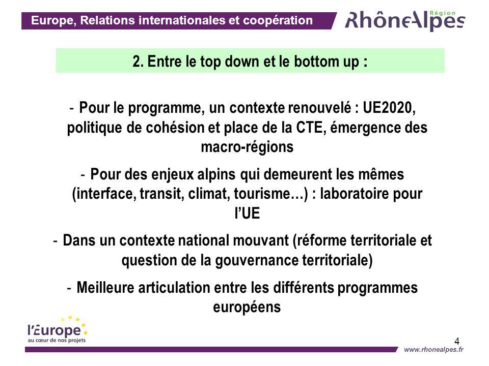 Europe, Relations internationales et coopération www.rhonealpes.fr 4 - Pour le programme, un contexte renouvelé : UE2020, politique de cohésion et pla