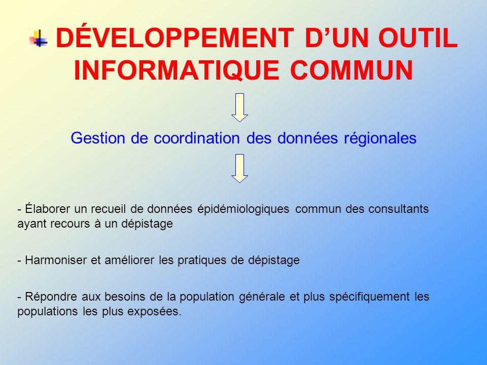 DÉVELOPPEMENT DUN OUTIL INFORMATIQUE COMMUN Gestion de coordination des données régionales - Élaborer un recueil de données épidémiologiques commun de