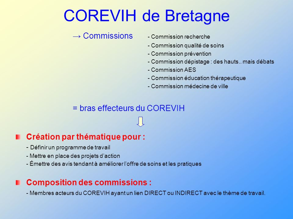 COREVIH de Bretagne Commissions - Commission recherche - Commission qualité de soins - Commission prévention - Commission dépistage : des hauts.. mais