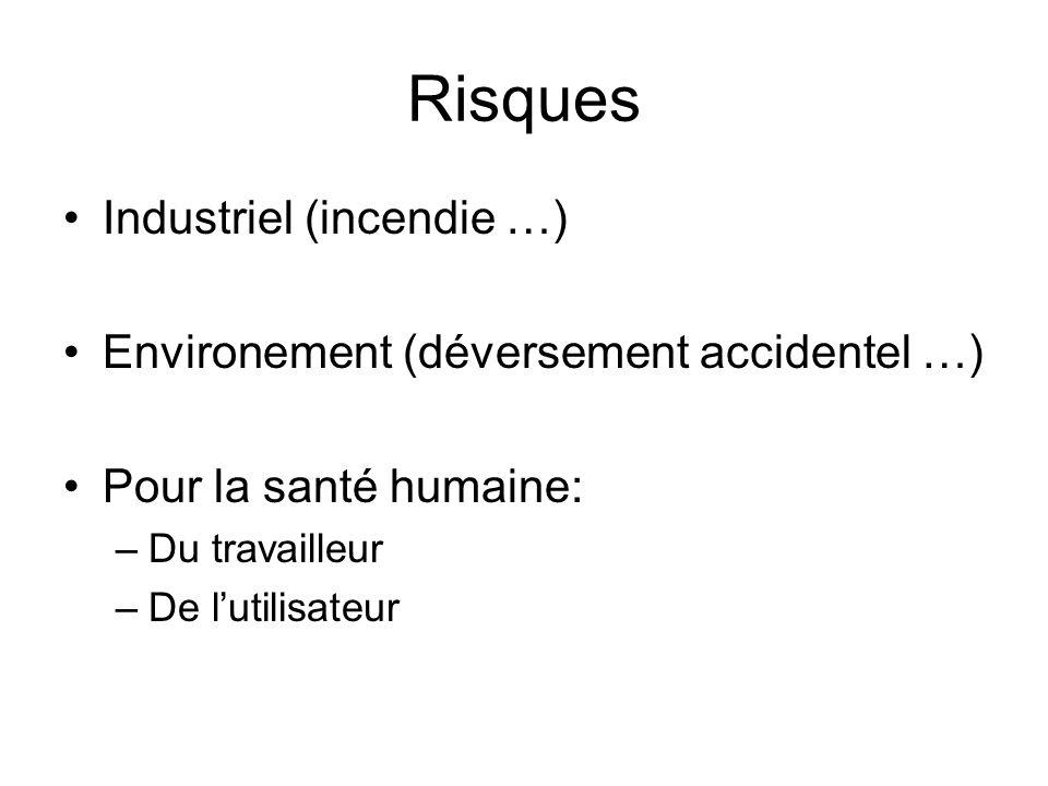 Risques Industriel (incendie …) Environement (déversement accidentel …) Pour la santé humaine: –Du travailleur –De lutilisateur