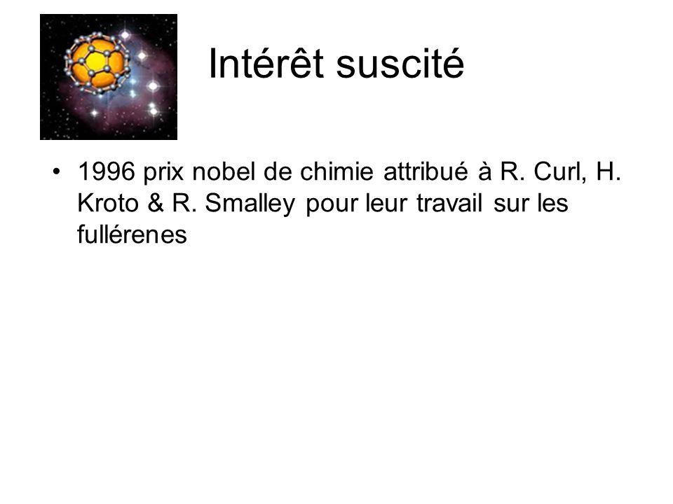 Intérêt suscité 1996 prix nobel de chimie attribué à R. Curl, H. Kroto & R. Smalley pour leur travail sur les fullérenes
