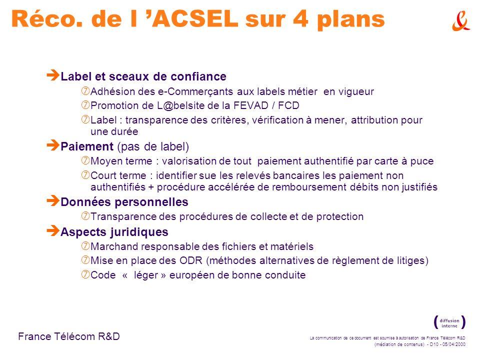 La communication de ce document est soumise à autorisation de France Télécom R&D (médiation de contenus) - D10 - 05/04/2000 France Télécom R&D Réco. d