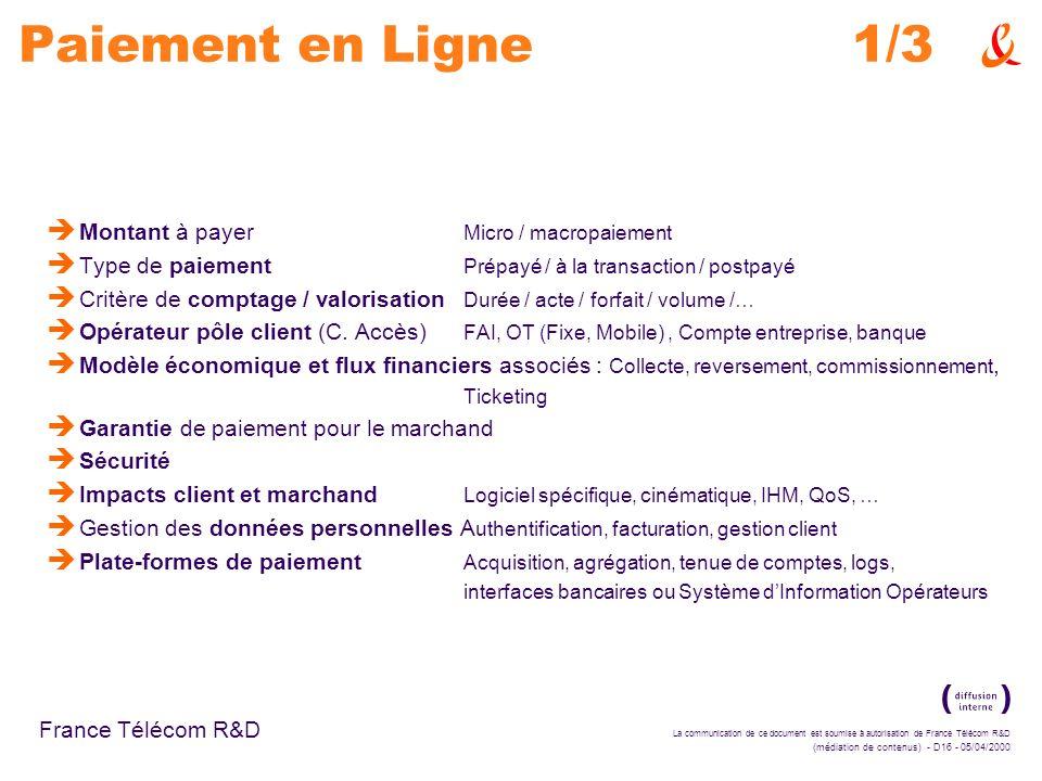 La communication de ce document est soumise à autorisation de France Télécom R&D (médiation de contenus) - D16 - 05/04/2000 France Télécom R&D Paiemen
