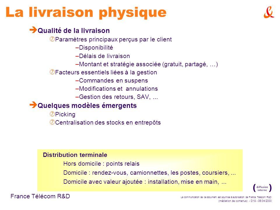 La communication de ce document est soumise à autorisation de France Télécom R&D (médiation de contenus) - D18 - 05/04/2000 France Télécom R&D La livr