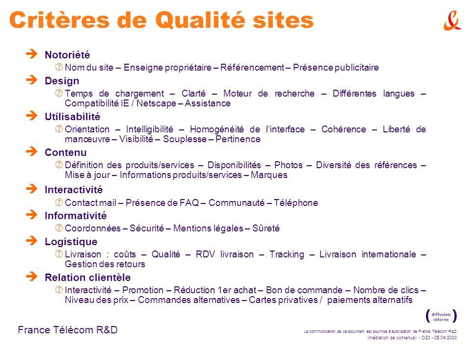 La communication de ce document est soumise à autorisation de France Télécom R&D (médiation de contenus) - D20 - 05/04/2000 France Télécom R&D Critère