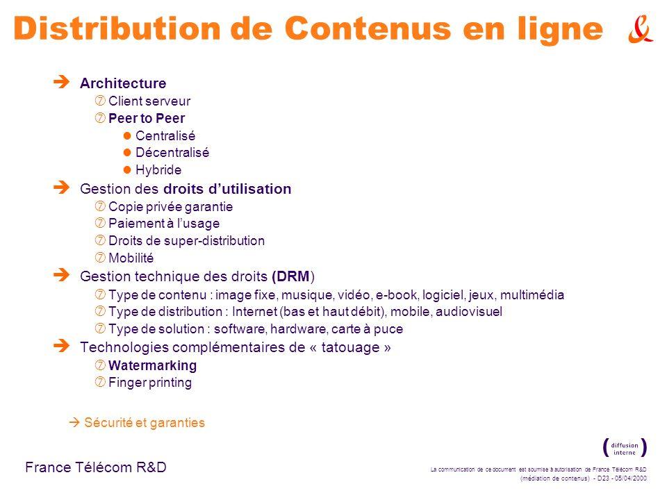 La communication de ce document est soumise à autorisation de France Télécom R&D (médiation de contenus) - D23 - 05/04/2000 France Télécom R&D Distrib