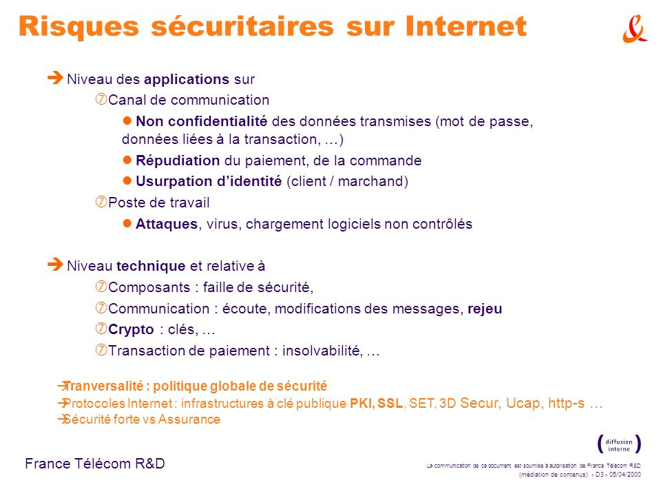 La communication de ce document est soumise à autorisation de France Télécom R&D (médiation de contenus) - D3 - 05/04/2000 France Télécom R&D Risques