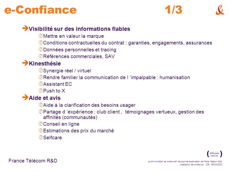 La communication de ce document est soumise à autorisation de France Télécom R&D (médiation de contenus) - D5 - 05/04/2000 France Télécom R&D e-Confia