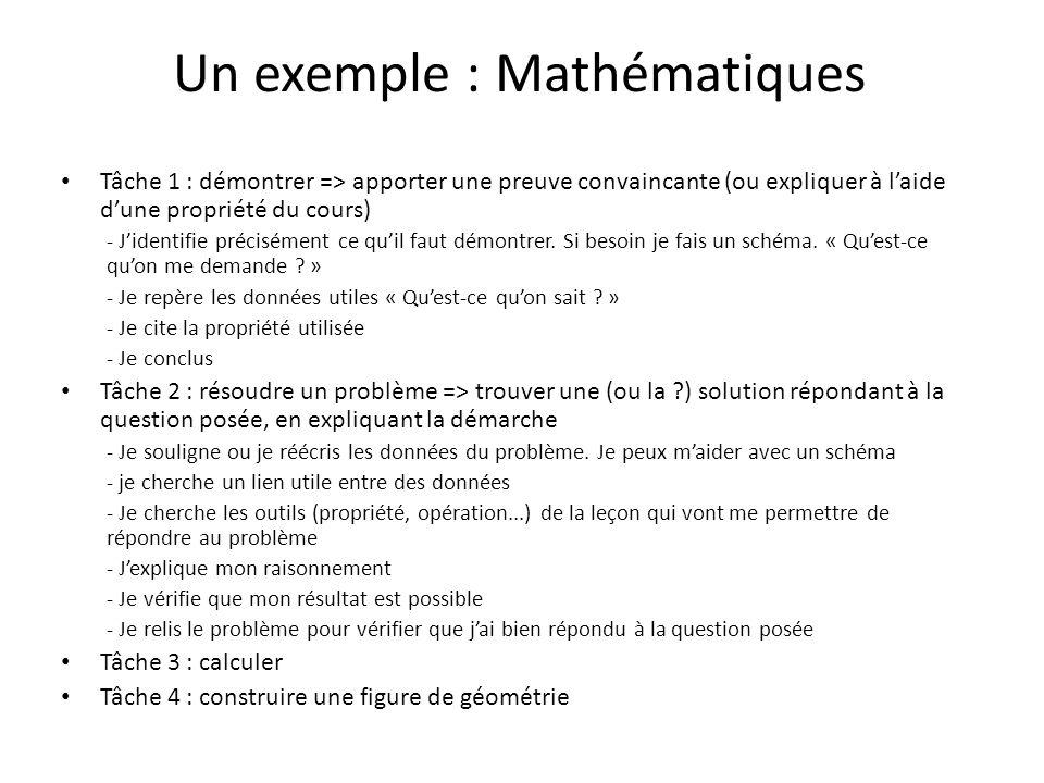 Un exemple : Mathématiques Tâche 1 : démontrer => apporter une preuve convaincante (ou expliquer à laide dune propriété du cours) - Jidentifie précisément ce quil faut démontrer.