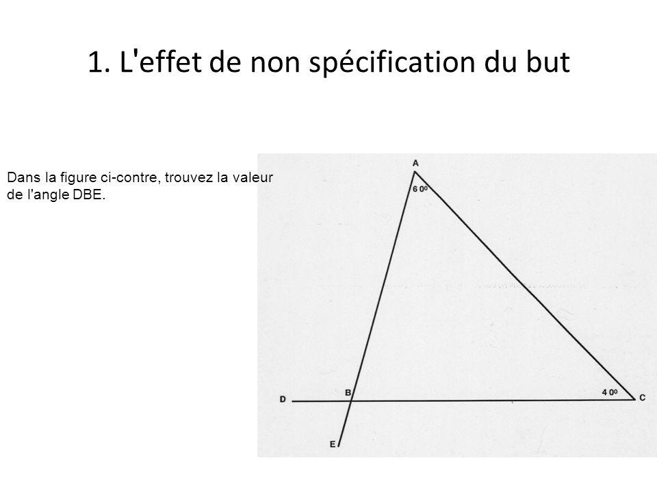 1. L ' effet de non spécification du but Dans la figure ci-contre, trouvez la valeur de l'angle DBE.