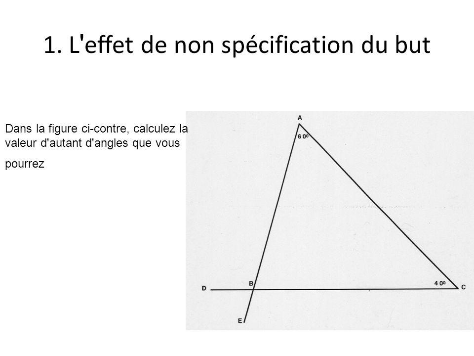 1. L ' effet de non spécification du but Dans la figure ci-contre, calculez la valeur d'autant d'angles que vous pourrez