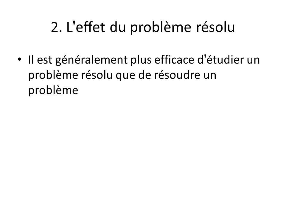 2. L ' effet du problème résolu Il est généralement plus efficace d ' étudier un problème résolu que de résoudre un problème