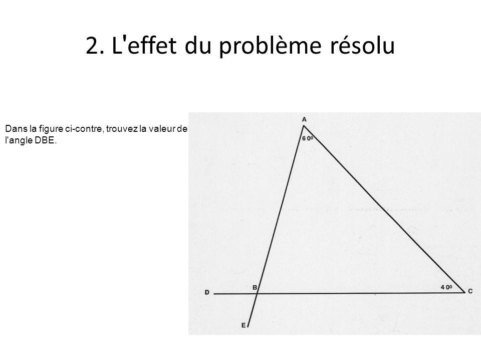 2. L effet du problème résolu Dans la figure ci-contre, trouvez la valeur de l angle DBE.