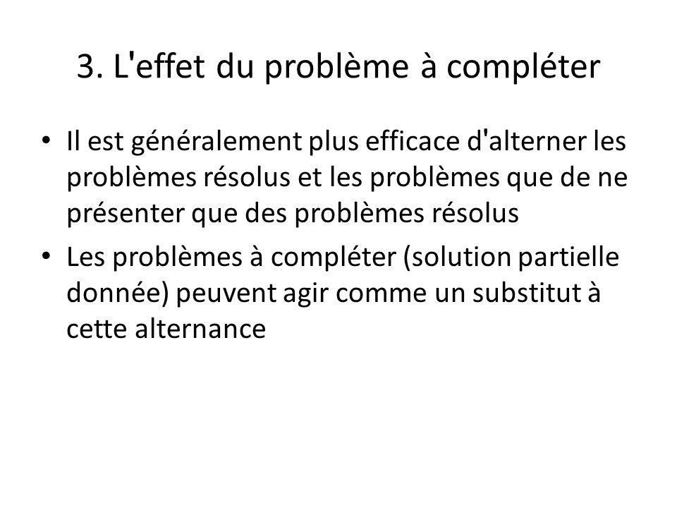 3. L ' effet du problème à compléter Il est généralement plus efficace d ' alterner les problèmes résolus et les problèmes que de ne présenter que des