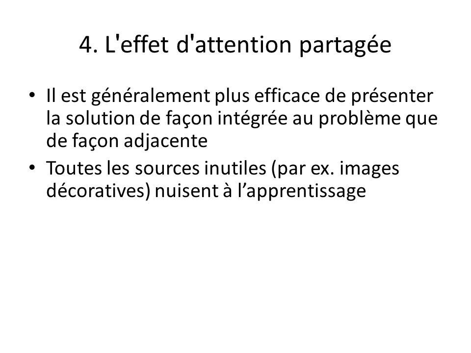 4. L ' effet d ' attention partagée Il est généralement plus efficace de présenter la solution de façon intégrée au problème que de façon adjacente To