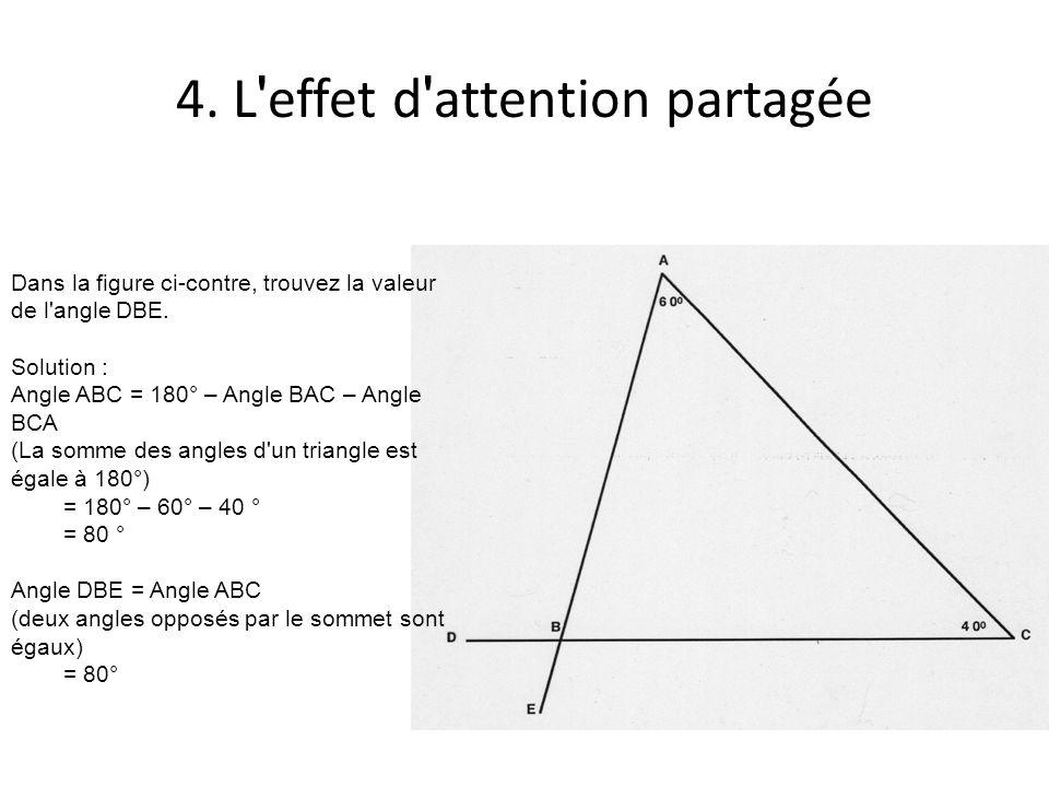 4.L effet d attention partagée Dans la figure ci-contre, trouvez la valeur de l angle DBE.