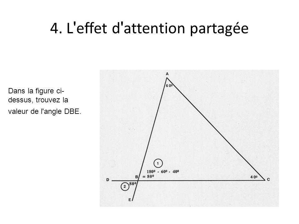 4. L effet d attention partagée Dans la figure ci- dessus, trouvez la valeur de l angle DBE.