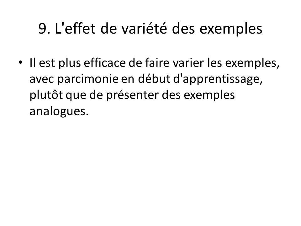 9. L ' effet de variété des exemples Il est plus efficace de faire varier les exemples, avec parcimonie en début d ' apprentissage, plutôt que de prés