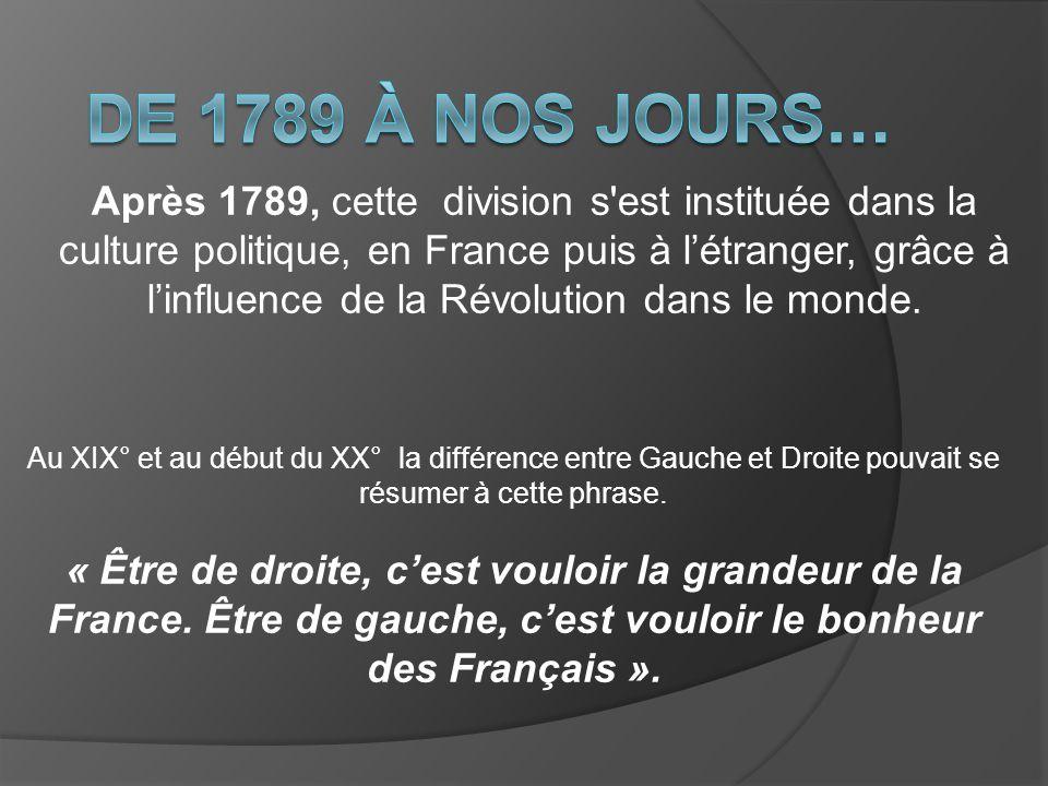 Après 1789, cette division s'est instituée dans la culture politique, en France puis à létranger, grâce à linfluence de la Révolution dans le monde. A