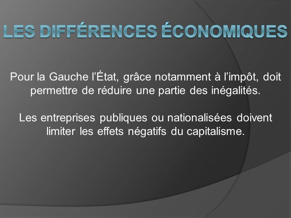 Pour la Gauche lÉtat, grâce notamment à limpôt, doit permettre de réduire une partie des inégalités. Les entreprises publiques ou nationalisées doiven