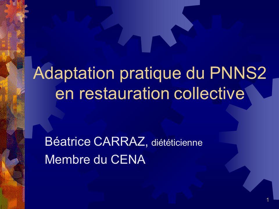 1 Adaptation pratique du PNNS2 en restauration collective Béatrice CARRAZ, diététicienne Membre du CENA