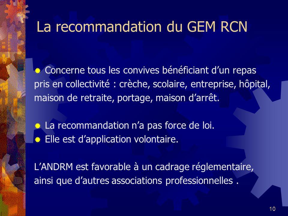 10 La recommandation du GEM RCN Concerne tous les convives bénéficiant dun repas pris en collectivité : crèche, scolaire, entreprise, hôpital, maison