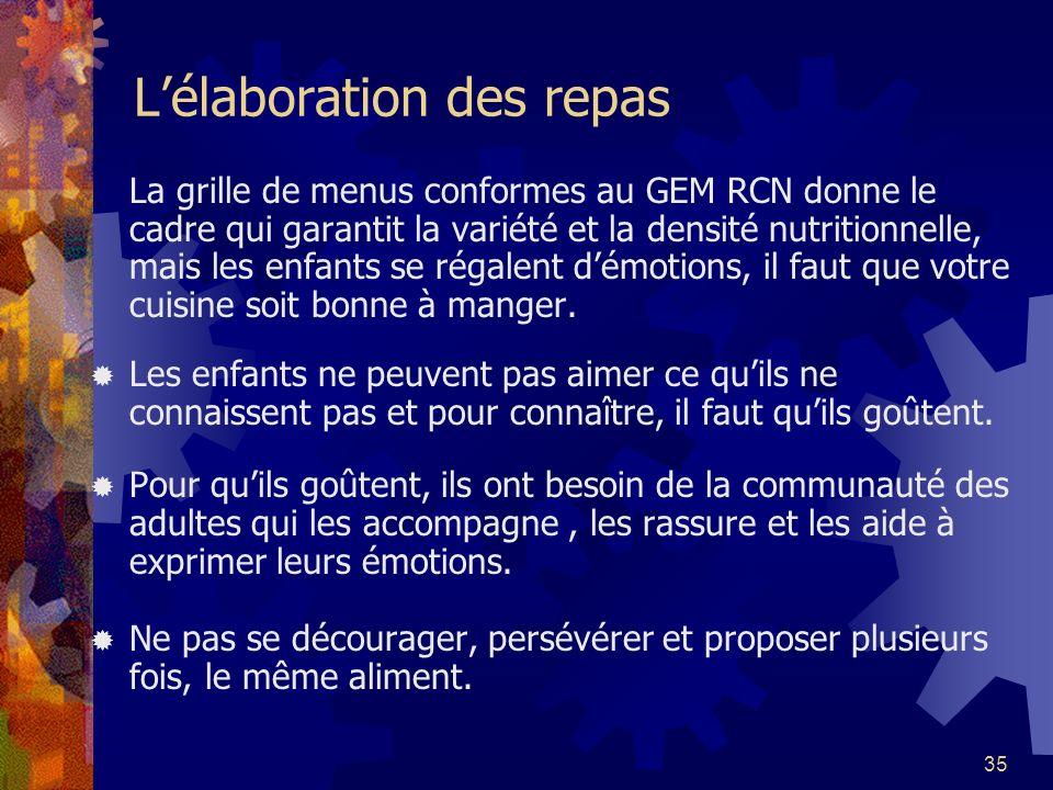 35 Lélaboration des repas La grille de menus conformes au GEM RCN donne le cadre qui garantit la variété et la densité nutritionnelle, mais les enfant
