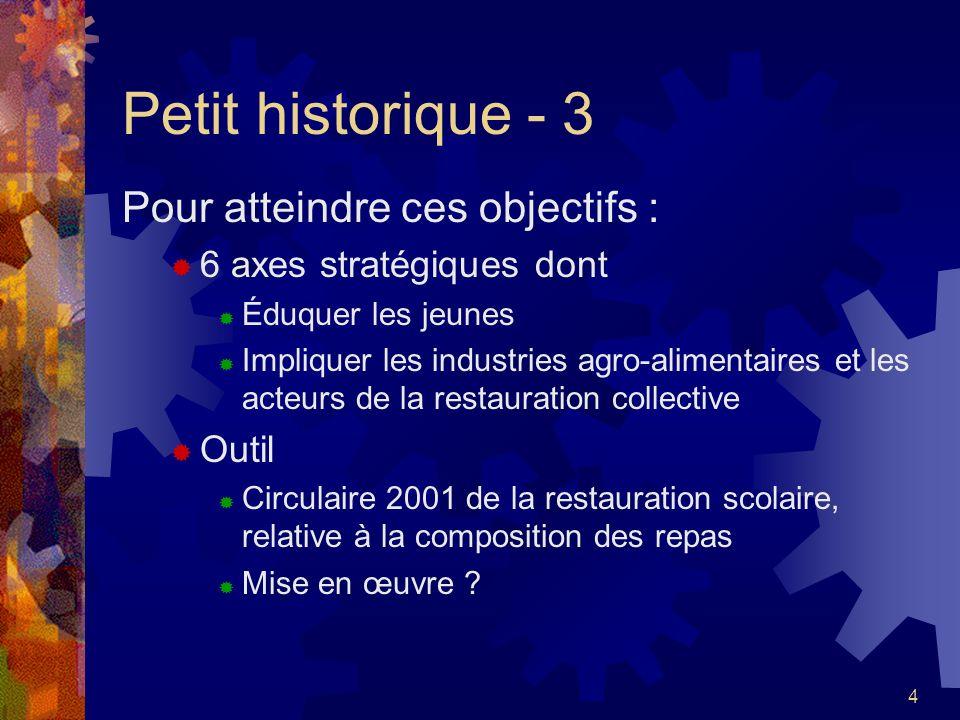4 Petit historique - 3 Pour atteindre ces objectifs : 6 axes stratégiques dont Éduquer les jeunes Impliquer les industries agro-alimentaires et les ac