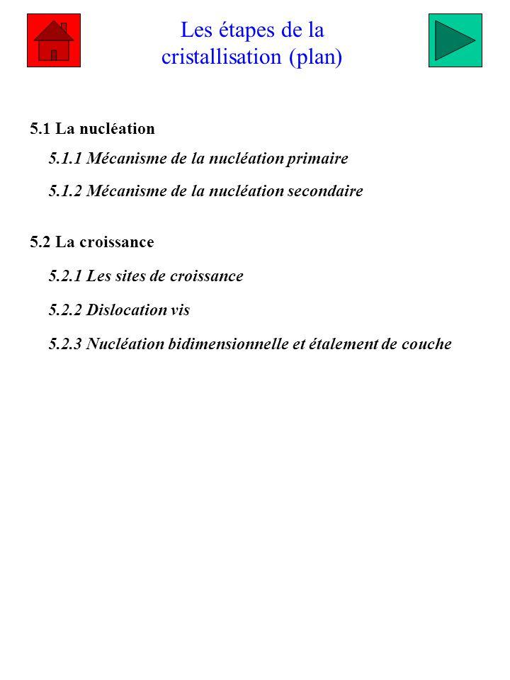 Les étapes de la cristallisation (plan) 5.1 La nucléation 5.1.1 Mécanisme de la nucléation primaire 5.1.2 Mécanisme de la nucléation secondaire 5.2 La