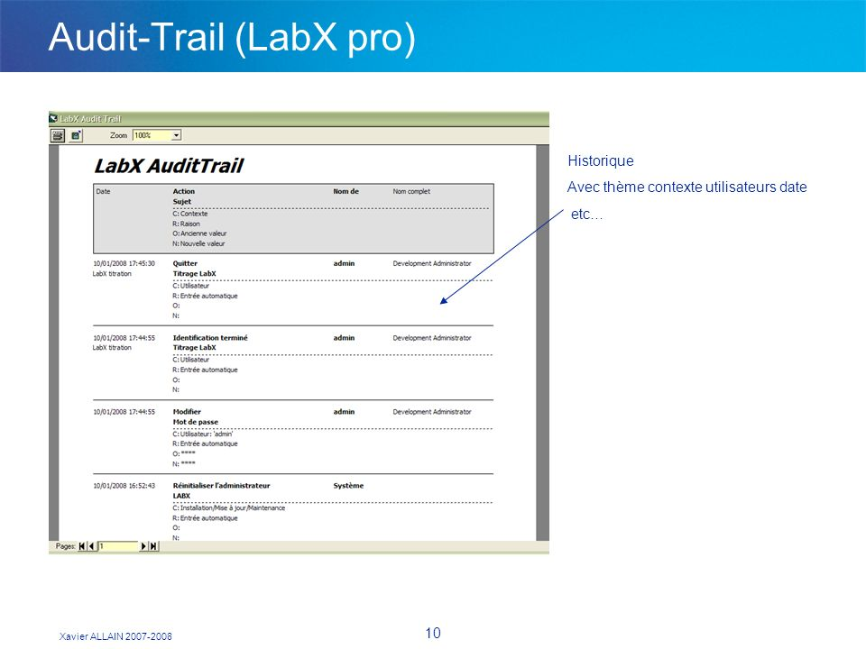 Xavier ALLAIN 2007-2008 10 Audit-Trail (LabX pro) Historique Avec thème contexte utilisateurs date etc…