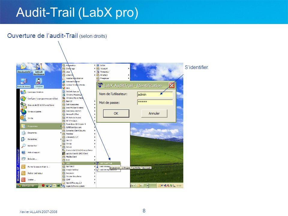 Xavier ALLAIN 2007-2008 8 Audit-Trail (LabX pro) Ouverture de laudit-Trail (selon droits) Sidentifier.
