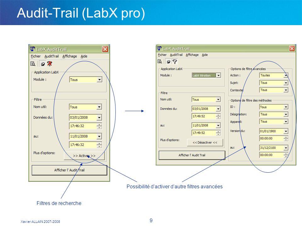 Xavier ALLAIN 2007-2008 9 Audit-Trail (LabX pro) Filtres de recherche Possibilité dactiver dautre filtres avancées