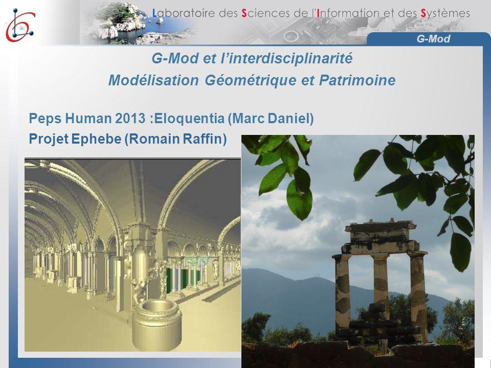 G-Mod G-Mod et linterdisciplinarité Modélisation Géométrique et Patrimoine Peps Human 2013 :Eloquentia (Marc Daniel) Projet Ephebe (Romain Raffin)