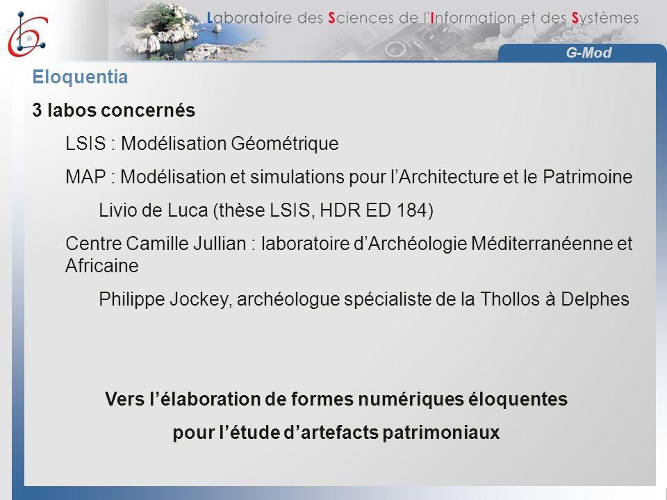 G-Mod Eloquentia 3 labos concernés LSIS : Modélisation Géométrique MAP : Modélisation et simulations pour lArchitecture et le Patrimoine Livio de Luca