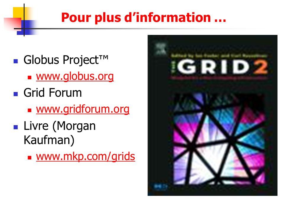 Pour plus dinformation … Globus Project www.globus.org Grid Forum www.gridforum.org Livre (Morgan Kaufman) www.mkp.com/grids