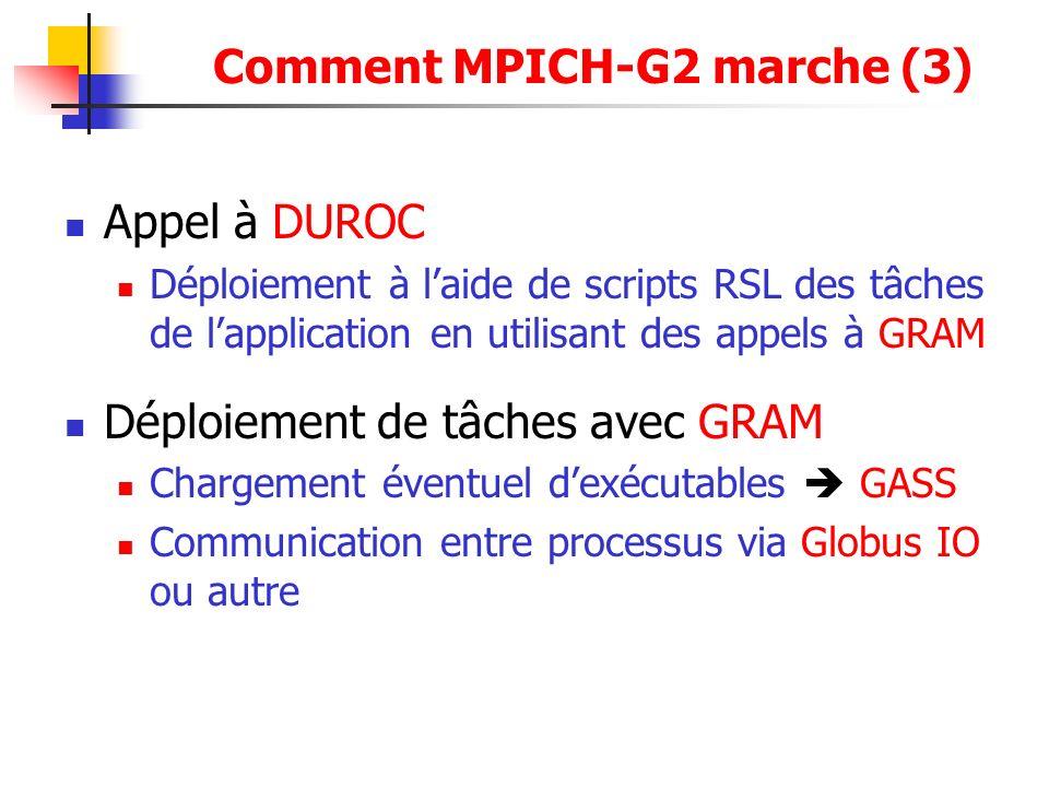 Appel à DUROC Déploiement à laide de scripts RSL des tâches de lapplication en utilisant des appels à GRAM Déploiement de tâches avec GRAM Chargement