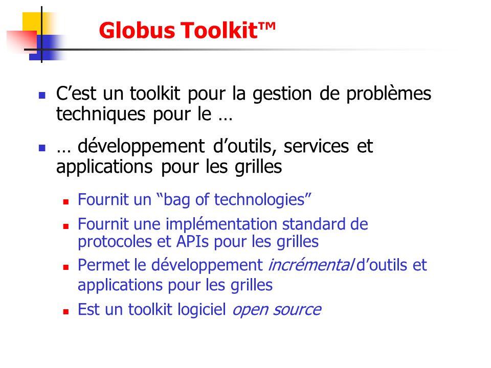 Globus Toolkit Cest un toolkit pour la gestion de problèmes techniques pour le … … développement doutils, services et applications pour les grilles Fo
