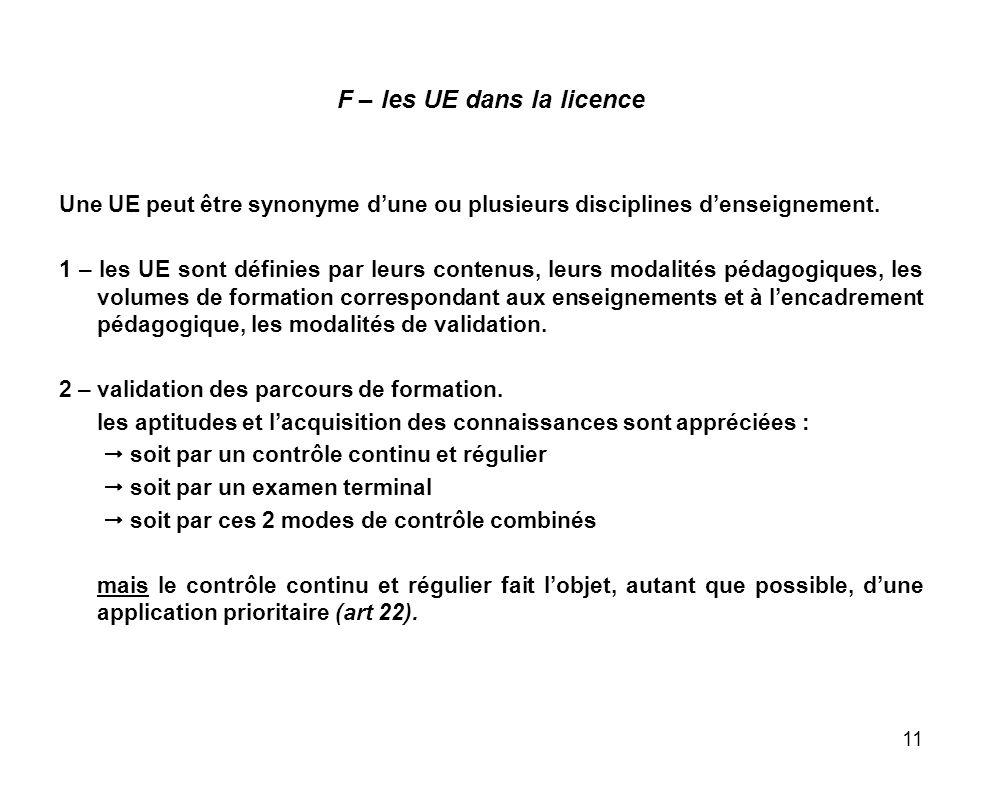 11 F – les UE dans la licence Une UE peut être synonyme dune ou plusieurs disciplines denseignement. 1 – les UE sont définies par leurs contenus, leur