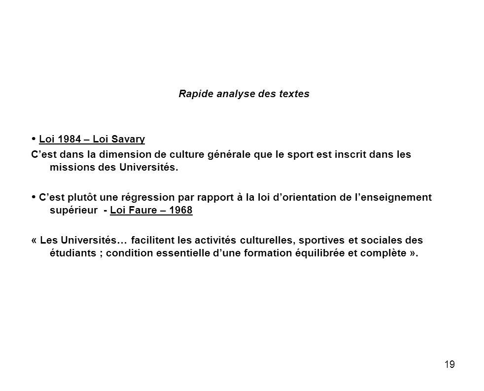 19 Rapide analyse des textes Loi 1984 – Loi Savary Cest dans la dimension de culture générale que le sport est inscrit dans les missions des Universit