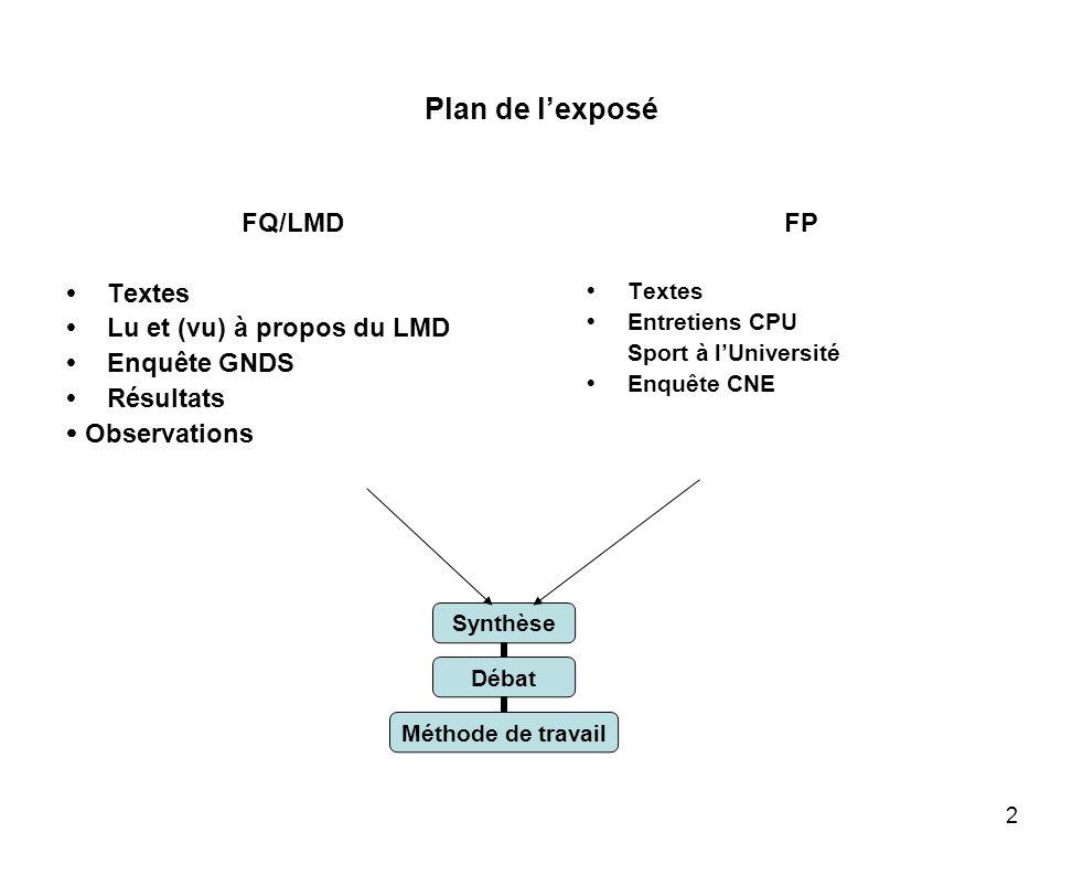 2 Plan de lexposé FQ/LMD Textes Lu et (vu) à propos du LMD Enquête GNDS Résultats Observations FP Textes Entretiens CPU Sport à lUniversité Enquête CN