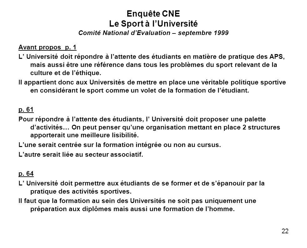 22 Enquête CNE Le Sport à lUniversité Comité National dEvaluation – septembre 1999 Avant propos p. 1 L Université doit répondre à lattente des étudian