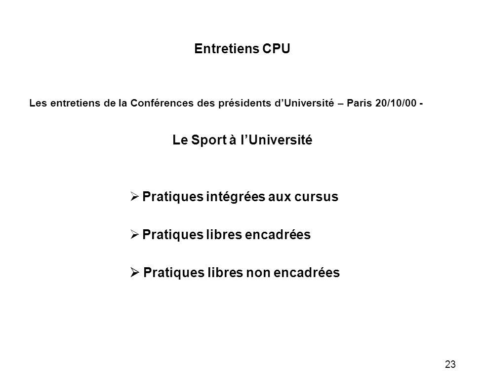23 Entretiens CPU Les entretiens de la Conférences des présidents dUniversité – Paris 20/10/00 - Le Sport à lUniversité Pratiques intégrées aux cursus