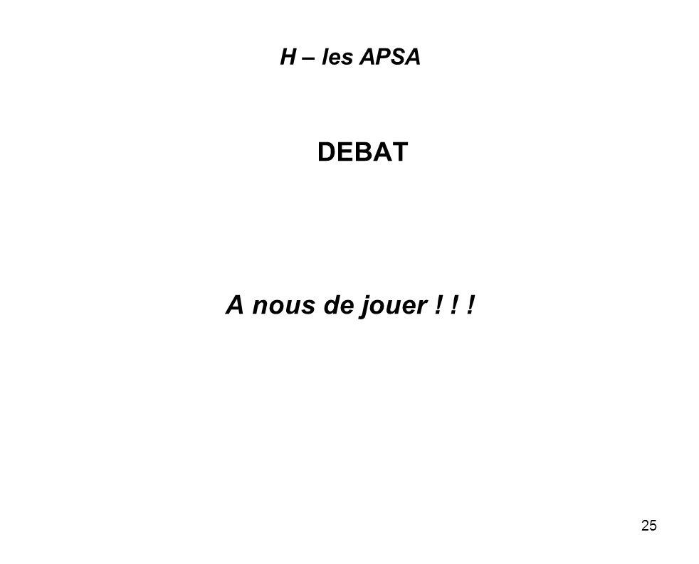 25 H – les APSA DEBAT A nous de jouer ! ! !
