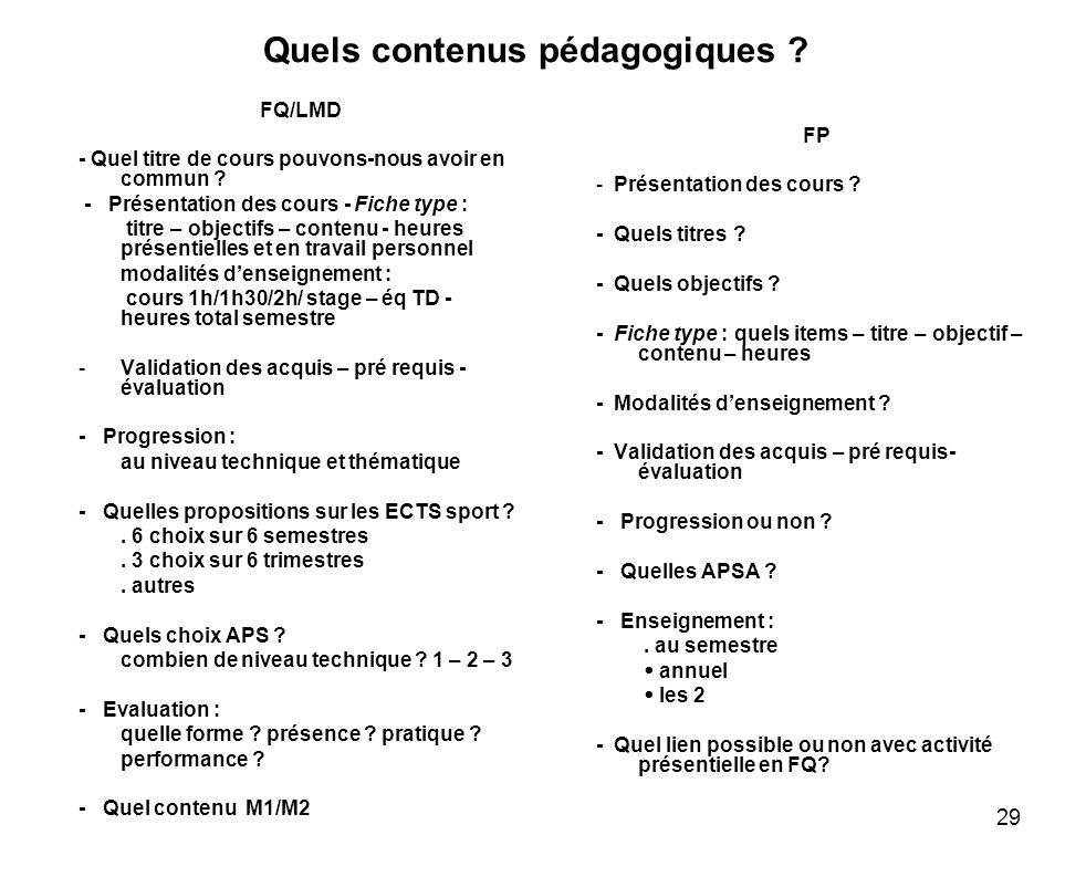 29 Quels contenus pédagogiques ? FQ/LMD - Quel titre de cours pouvons-nous avoir en commun ? - Présentation des cours - Fiche type : titre – objectifs