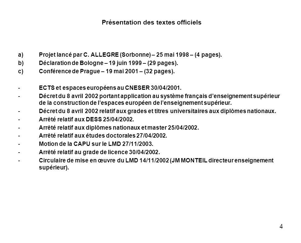 4 Présentation des textes officiels a)Projet lancé par C. ALLEGRE (Sorbonne) – 25 mai 1998 – (4 pages). b)Déclaration de Bologne – 19 juin 1999 – (29