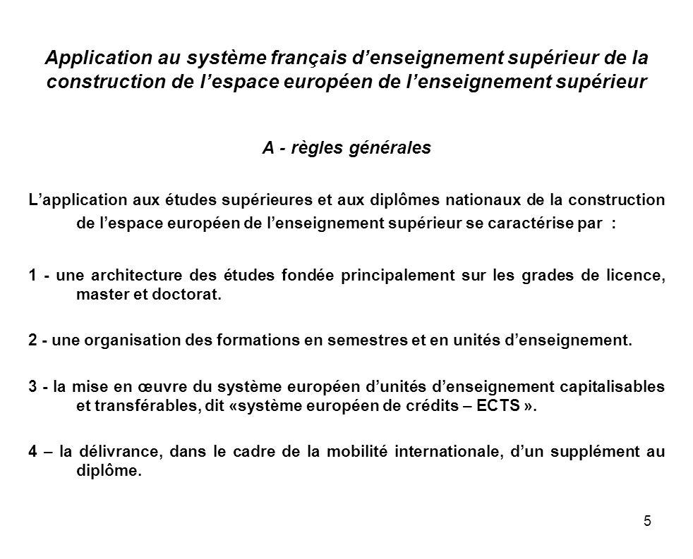 5 Application au système français denseignement supérieur de la construction de lespace européen de lenseignement supérieur A - règles générales Lappl